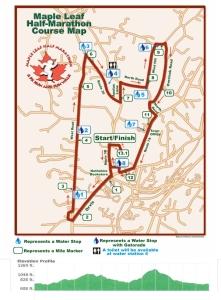 Maple Leaf Half Marathon Route and Elevation